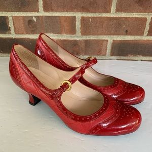 Franco Sarto red leather Mary Jane Oxford pump